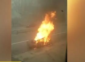 بالفيديو لحظة انفجار مركبة تحمل اسطوانات