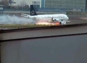اشتعال محرك طائرة فى تركيا