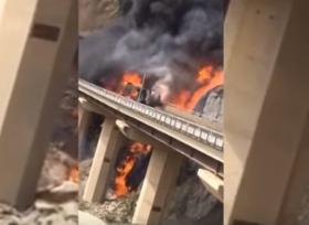 شاحنة تتعرض لتدهور في السعودية