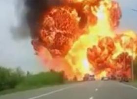 انفجار شاحنة محملة بمواد كيميائية فى روسيا
